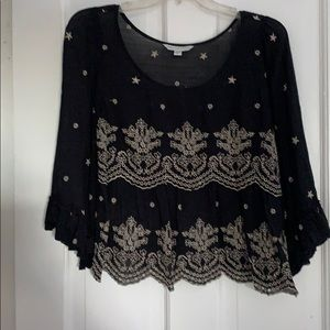 American Eagle Outfitter Black Beige Crop Top sz S